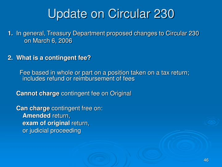 Update on Circular 230