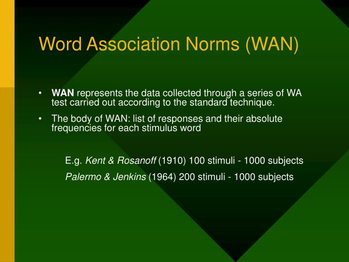 Word Association Norms (WAN)