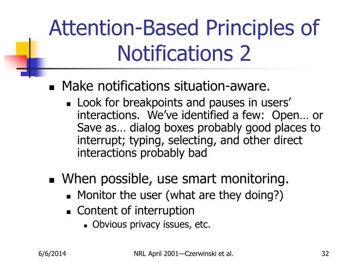 Attention-Based Principles of Notifications 2
