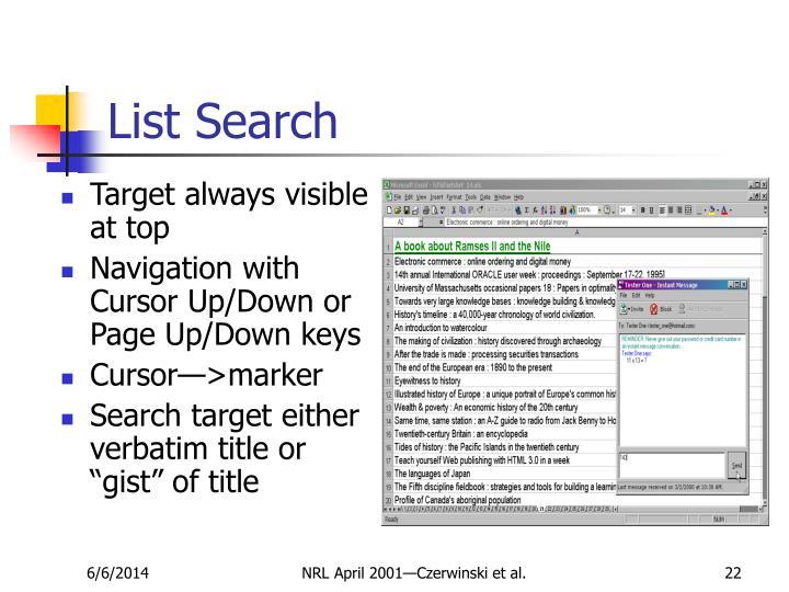 List Search