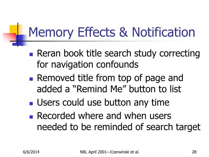 Memory Effects & Notification