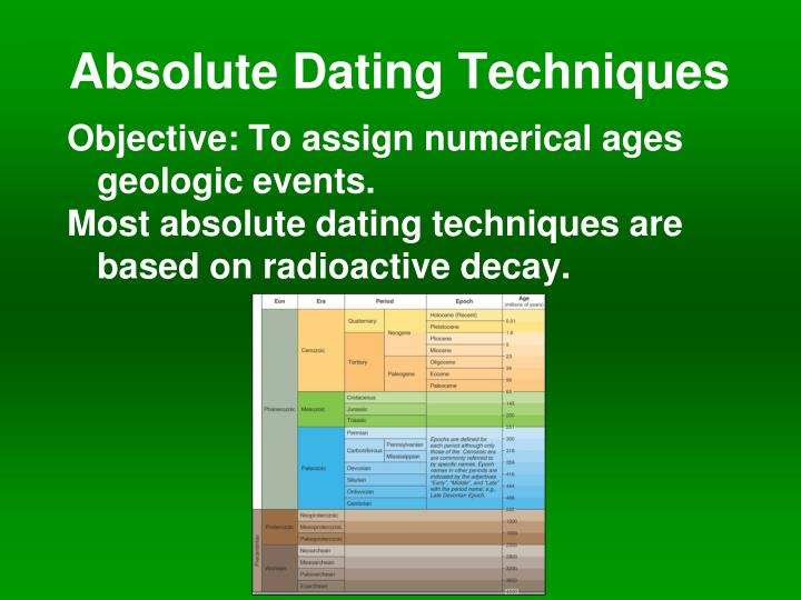 chronometric dating techniques in archaeology Absolute dating is the process of determining an age on a specified chronology in archaeology and geology  some scientists prefer the terms chronometric or calendar dating , as use of the word absolute implies an unwarranted certainty of accuracy absolute dating provides a numerical age or range in contrast with relative dating which places events in order without any measure of the age.