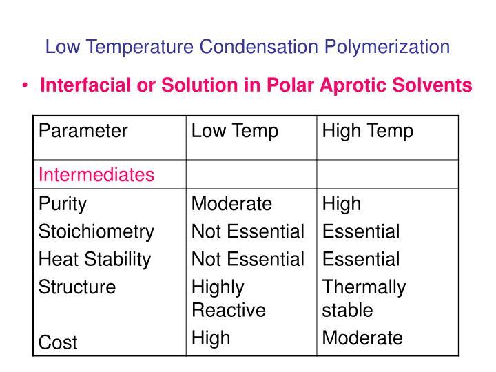 Low Temperature Condensation Polymerization