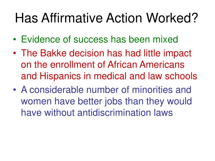 Has Affirmative Action Worked?