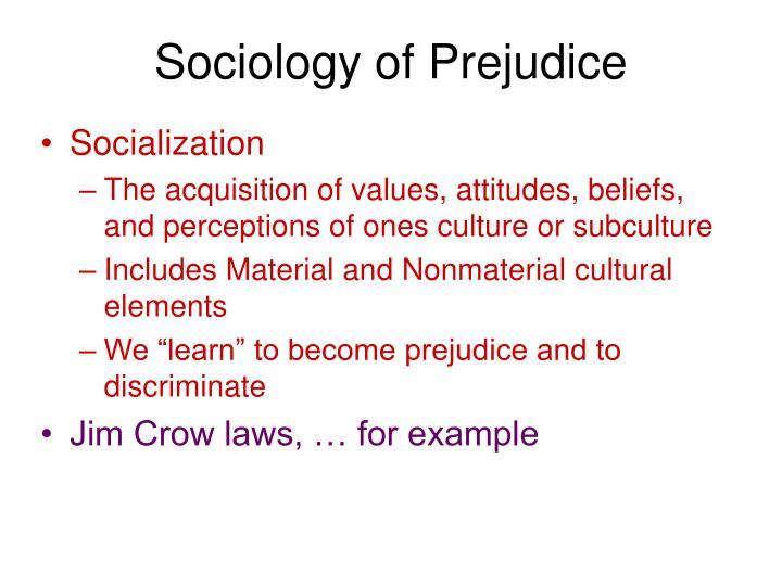 Sociology of Prejudice