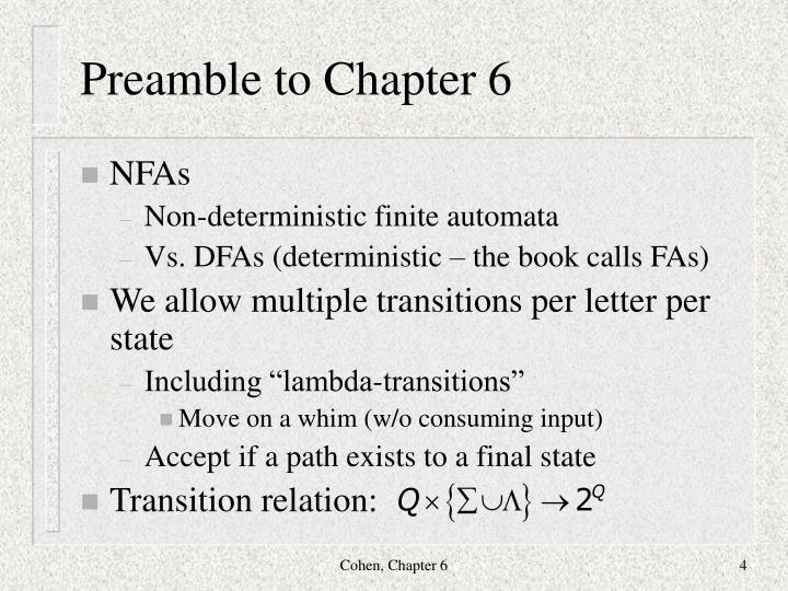 Preamble to Chapter 6