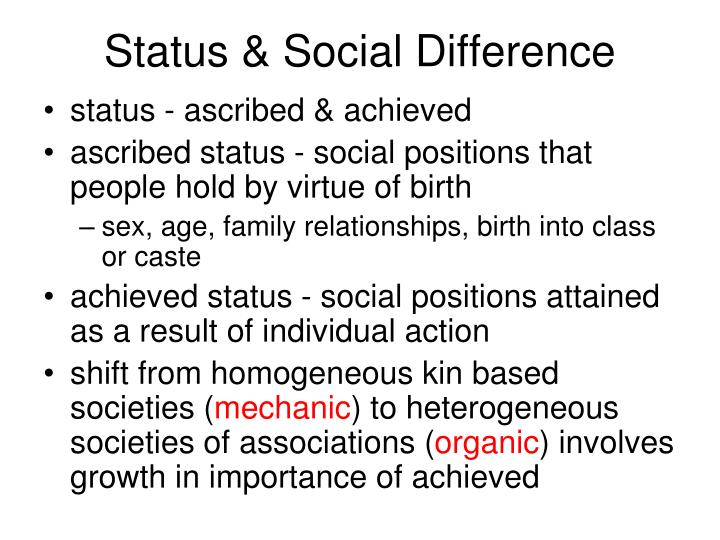 Status & Social Difference