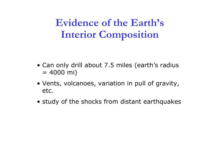 Evidence of the earth s interior composition