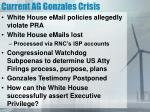 current ag gonzales crisis