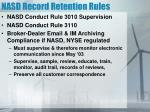 nasd record retention rules