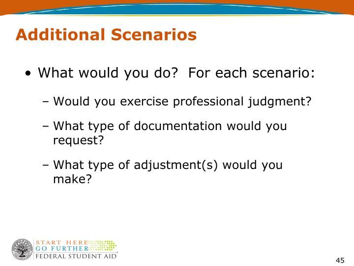 Additional Scenarios