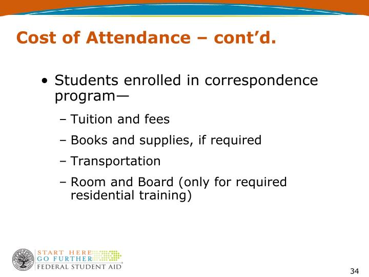 Cost of Attendance – cont'd.