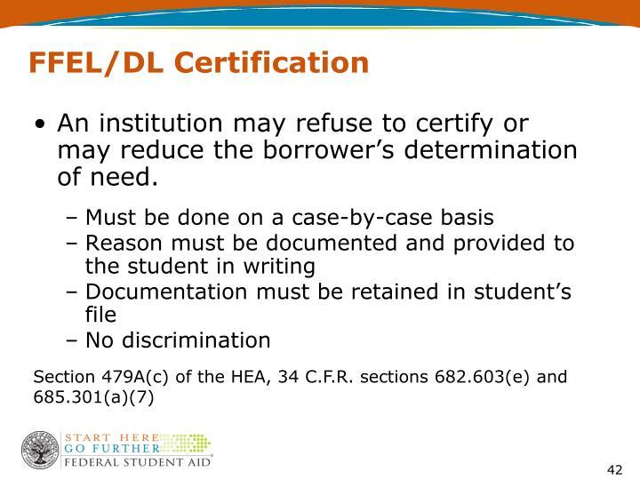 FFEL/DL Certification