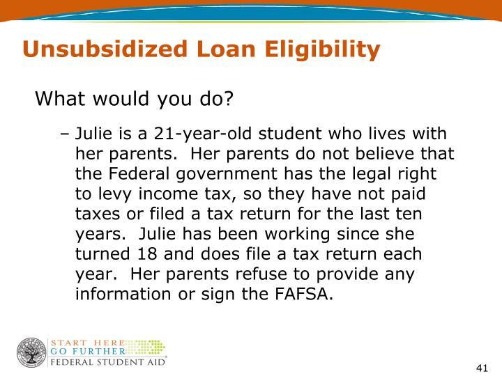 Unsubsidized Loan Eligibility