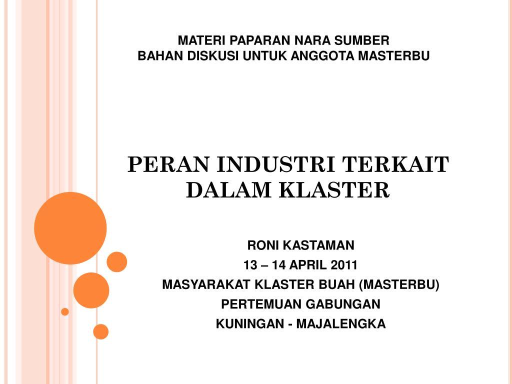 peran industri terkait dalam klaster l.