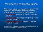 manufacturing configuration