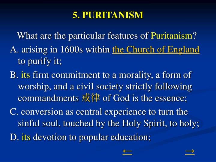 5. PURITANISM