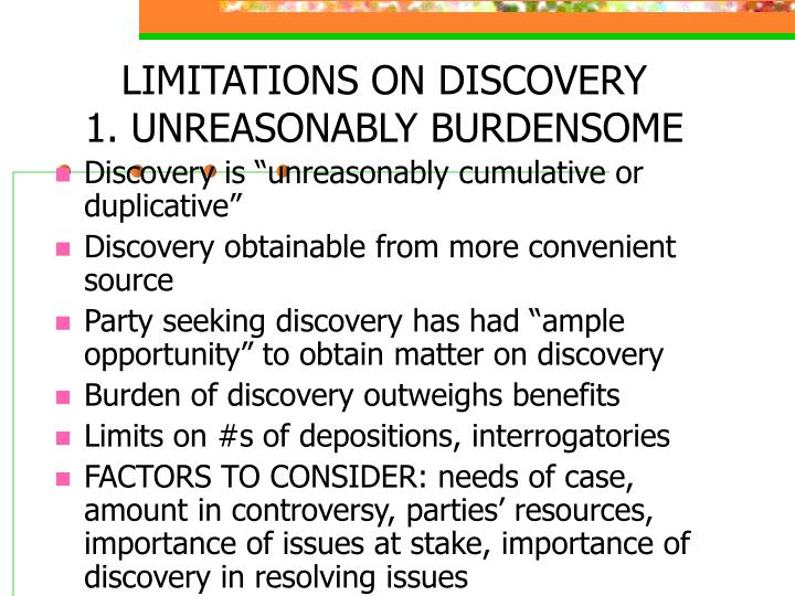 LIMITATIONS ON DISCOVERY