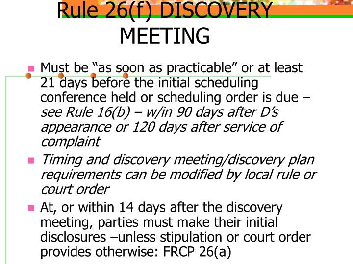 Rule 26(f) DISCOVERY MEETING