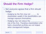 should the firm hedge