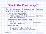 should the firm hedge1