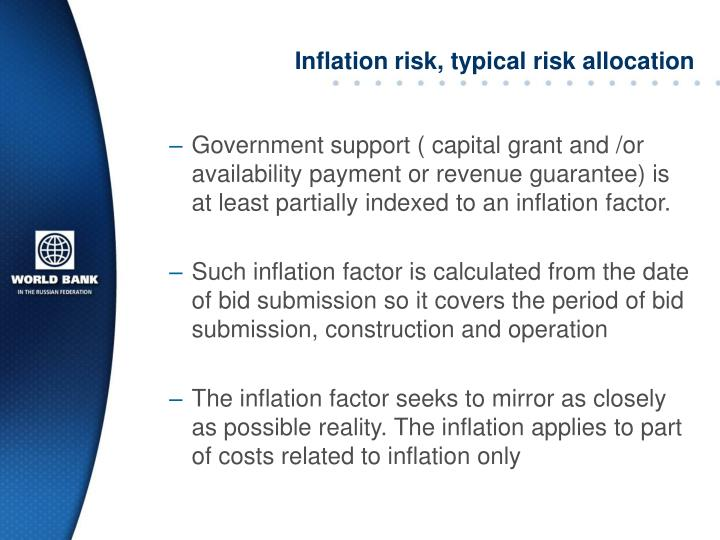 Inflation risk, typical risk allocation