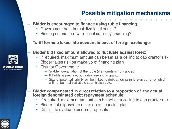 Possible mitigation mechanisms