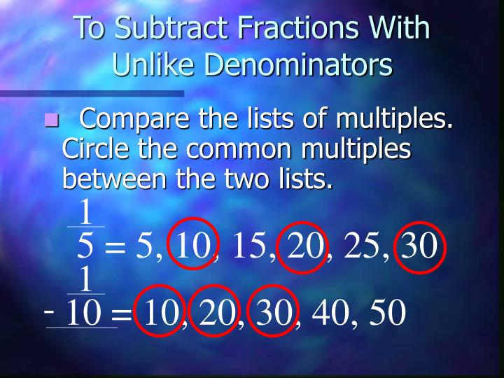 To Subtract Fractions With Unlike Denominators