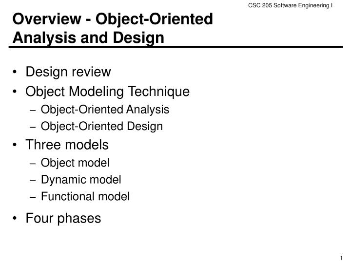 overview object oriented analysis and design n.