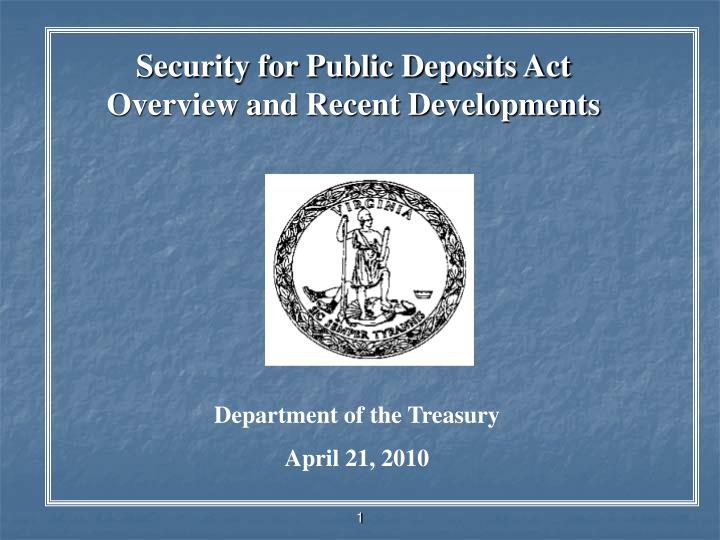 security for public deposits act overview and recent developments n.