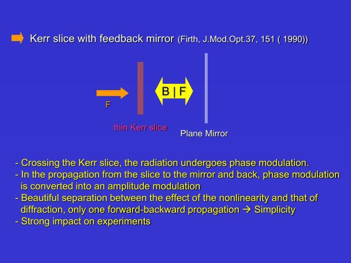Kerr slice with feedback mirror