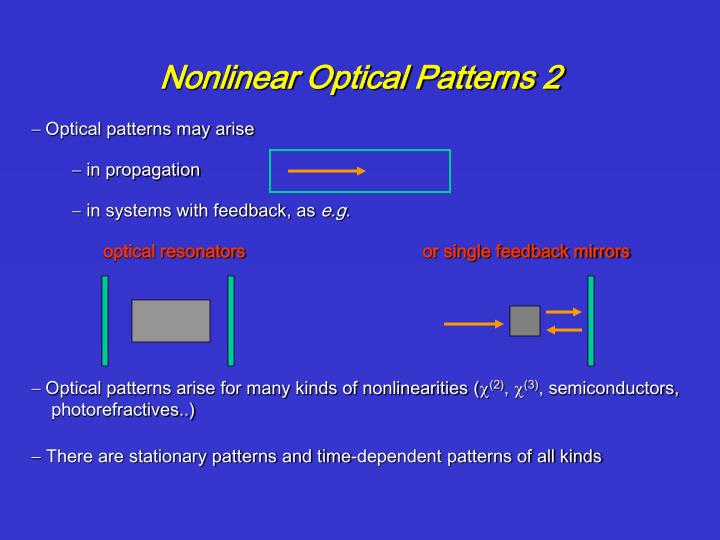 Nonlinear Optical Patterns 2