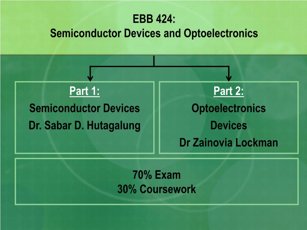 PPT - EBB 424E Semiconductor Devices and Optoelectronics