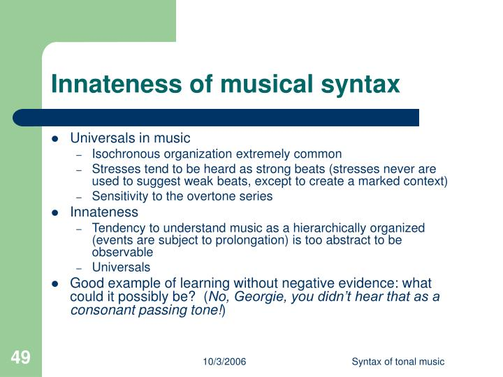 Innateness of musical syntax
