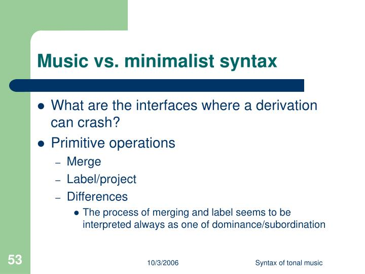 Music vs. minimalist syntax
