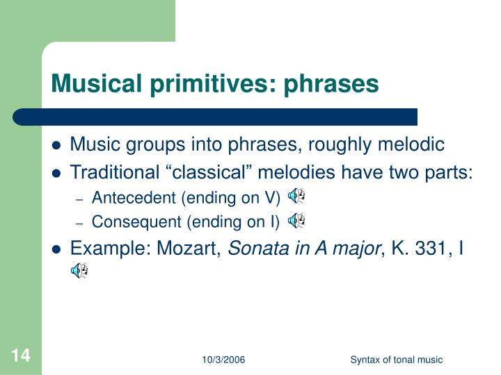 Musical primitives: phrases