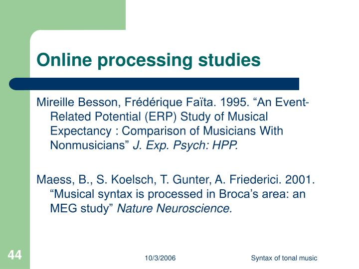 Online processing studies