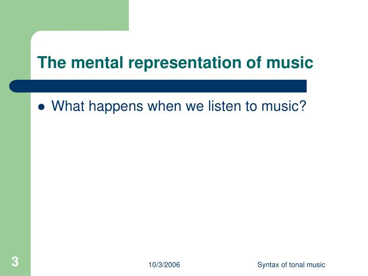 The mental representation of music