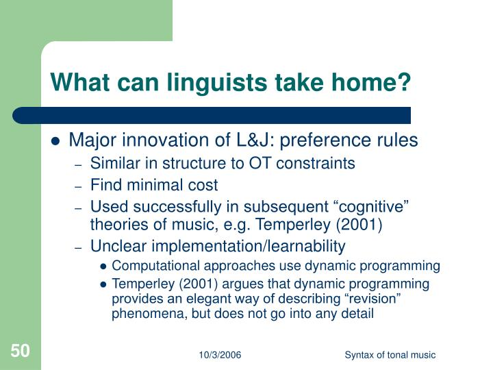 What can linguists take home?