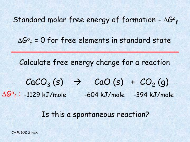 Standard molar free energy of formation -