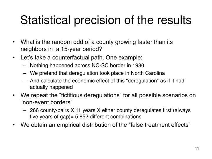 Statistical precision of the results
