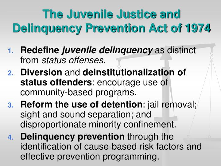 The Juvenile Justice and Delinquency Prevention Act of 1974