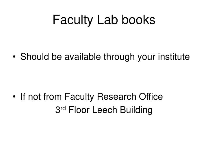 Faculty Lab books