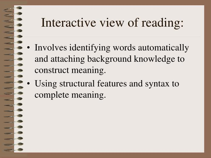 Interactive view of reading
