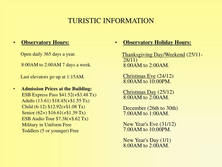 Observatory Holiday Hours: