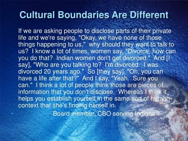 Cultural Boundaries Are Different