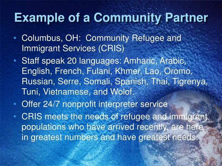 Example of a Community Partner