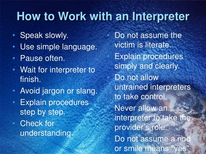 How to Work with an Interpreter