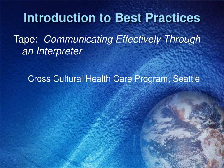 Introduction to Best Practices