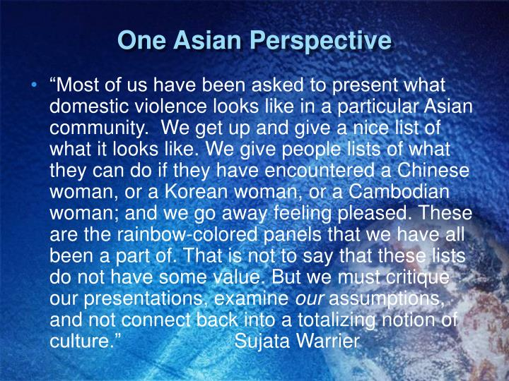 One Asian Perspective